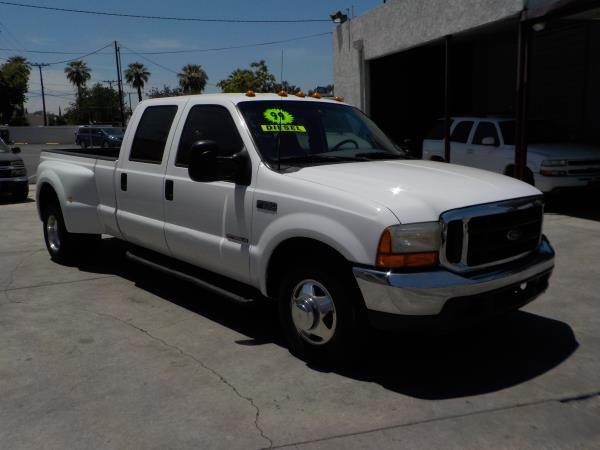 1999 FORD F-350 CREW CAB DUALLY  whitegrey automatic air conditioneralarmamfm radioanti-lo