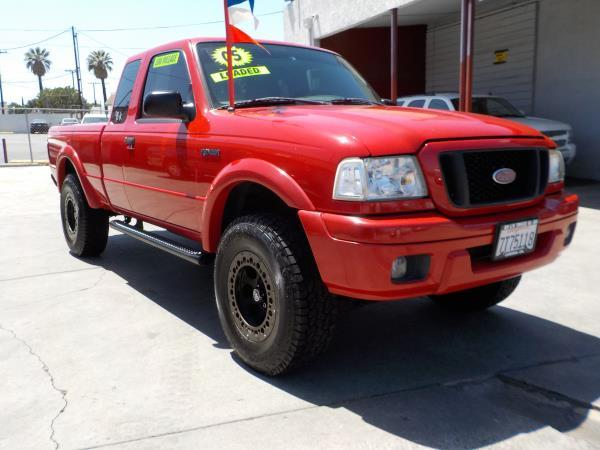 2005 FORD RANGER SUPER CAB 4 DOOR EDGE redgray cloth automatic air conditioneralarmamfm radi